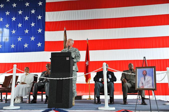 Cade Armory's drill floor, dedicated to 1st Sgt. Lloyd R. Scott, Sr.